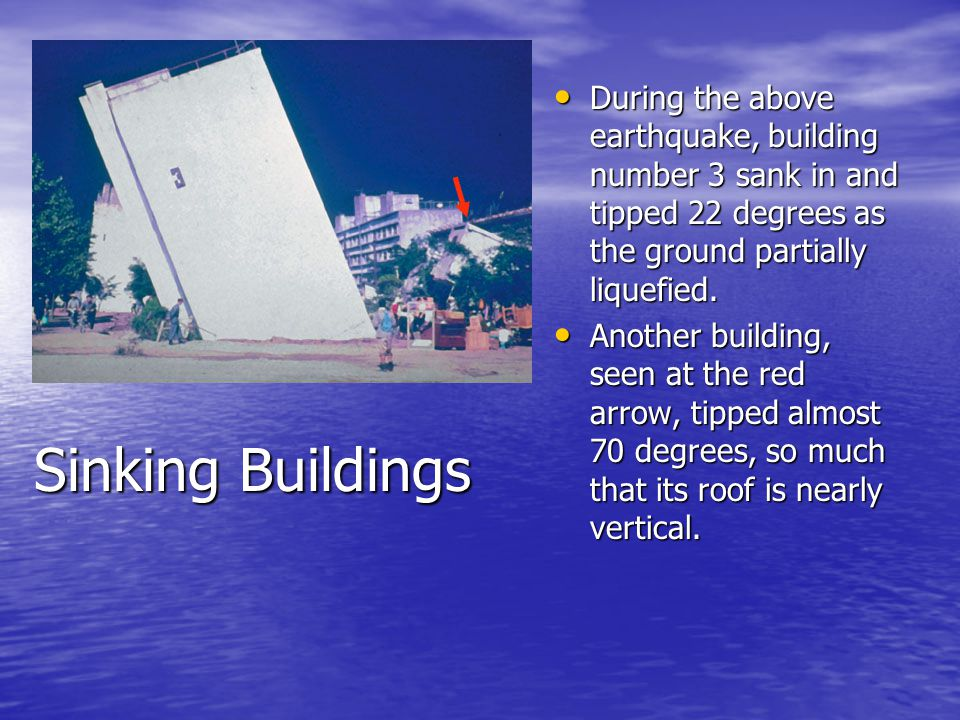 Sinking Buildings During the above earthquake, building number 3 sank in and tipped 22 degrees as the ground partially liquefied. During the above ear
