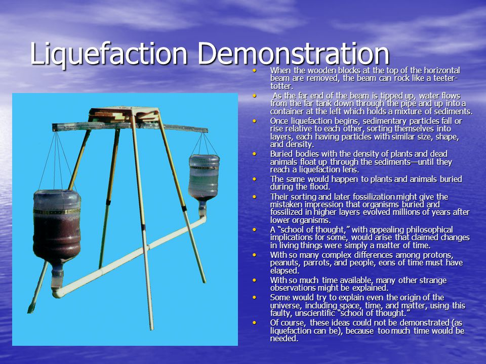 Liquefaction Demonstration When the wooden blocks at the top of the horizontal beam are removed, the beam can rock like a teeter- totter. When the woo