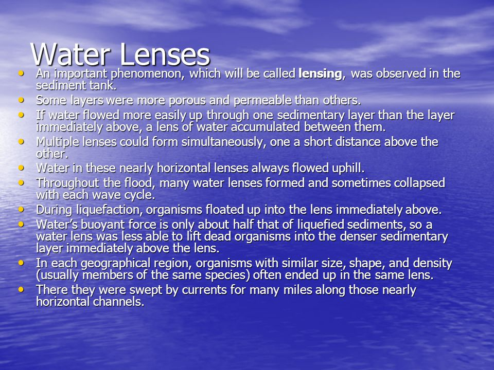 Water Lenses An important phenomenon, which will be called lensing, was observed in the sediment tank. An important phenomenon, which will be called l