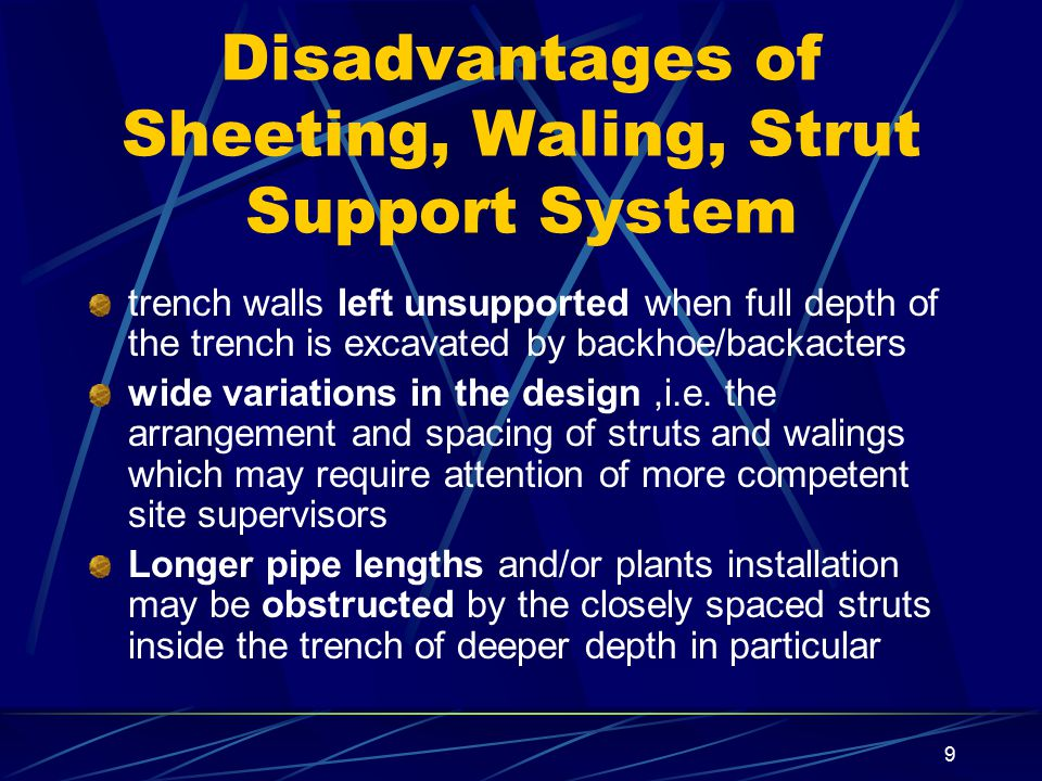 9 Disadvantages of Sheeting, Waling, Strut Support System trench walls left unsupported when full depth of the trench is excavated by backhoe/backacte