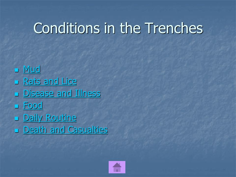 Conditions in the Trenches Mud Mud Mud Rats and Lice Rats and Lice Rats and Lice Rats and Lice Disease and Illness Disease and Illness Disease and Illness Disease and Illness Food Food Food Daily Routine Daily Routine Daily Routine Daily Routine Death and Casualties Death and Casualties Death and Casualties Death and Casualties