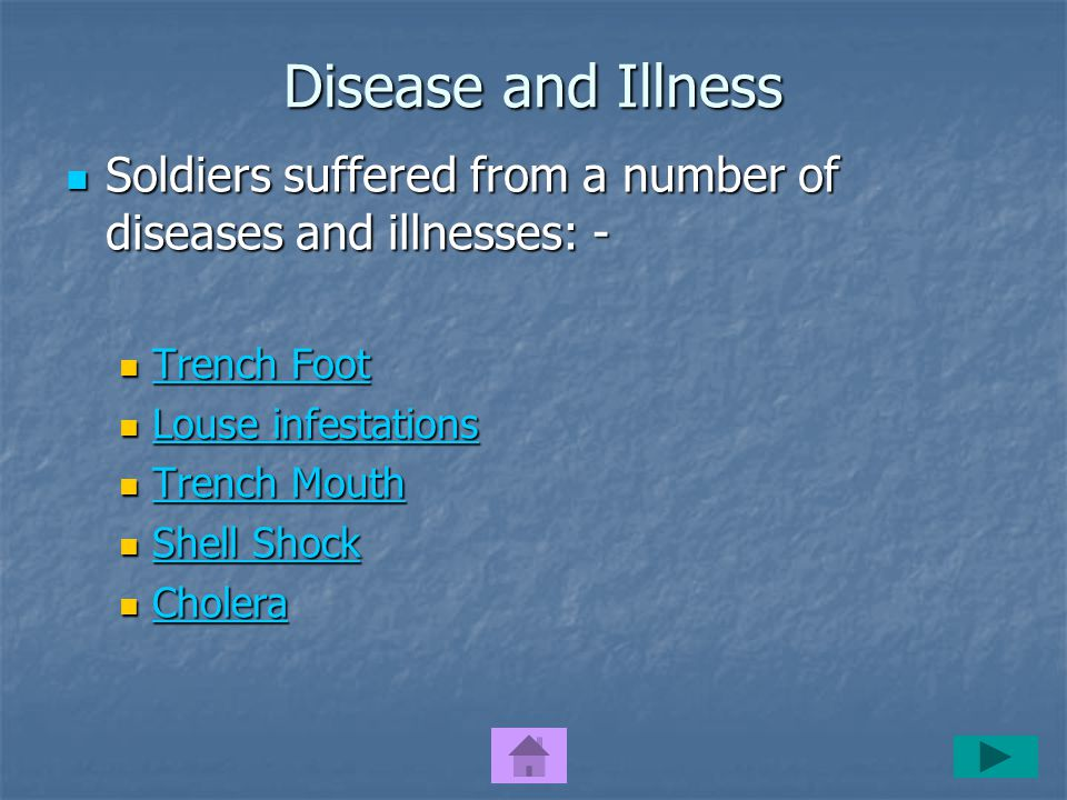 Disease and Illness Soldiers suffered from a number of diseases and illnesses: - Soldiers suffered from a number of diseases and illnesses: - Trench Foot Trench Foot Trench Foot Trench Foot Louse infestations Louse infestations Louse infestations Louse infestations Trench Mouth Trench Mouth Trench Mouth Trench Mouth Shell Shock Shell Shock Shell Shock Shell Shock Cholera Cholera Cholera