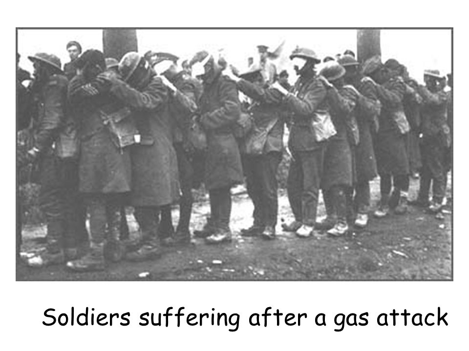 Soldiers suffering after a gas attack