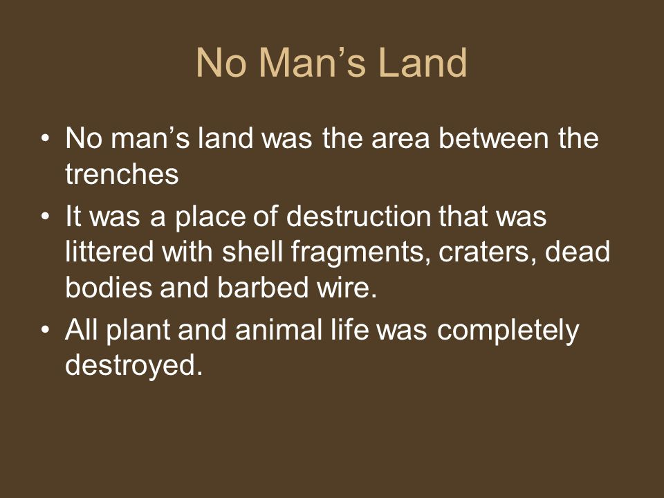 No Man's Land No man's land was the area between the trenches It was a place of destruction that was littered with shell fragments, craters, dead bodies and barbed wire.