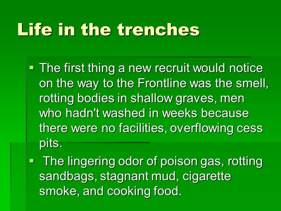 Life in the trenches  The first thing a new recruit would notice on the way to the Frontline was the smell, rotting bodies in shallow graves, men who hadn t washed in weeks because there were no facilities, overflowing cess pits.