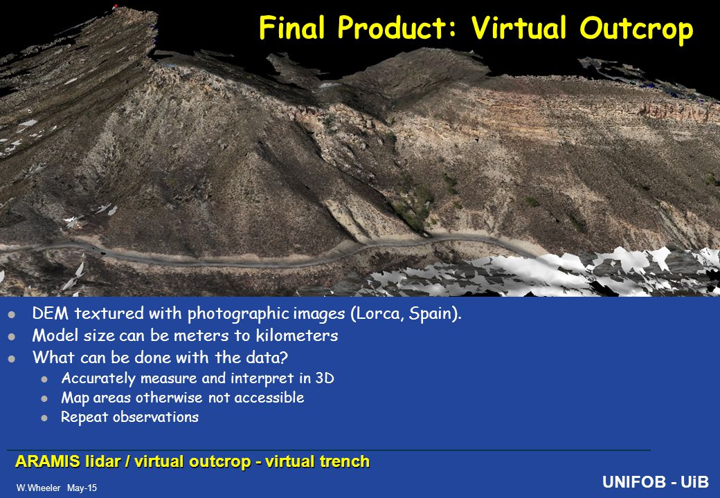 ARAMIS lidar / virtual outcrop - virtual trench W.Wheeler May-15 UNIFOB - UiB Final Product: Virtual Outcrop DEM textured with photographic images (Lorca, Spain).