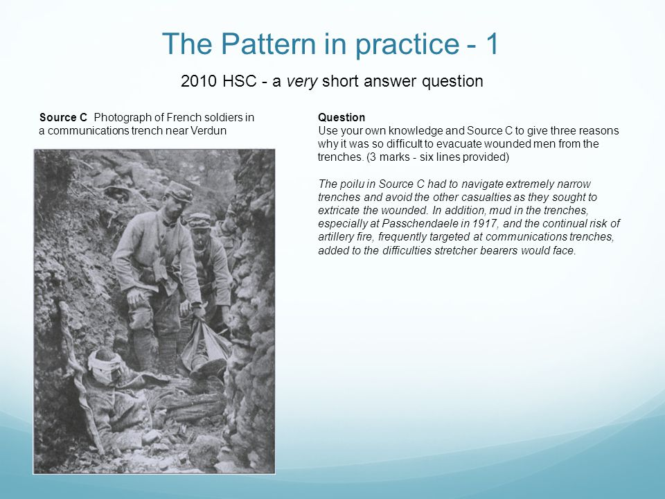 The Pattern in practice - 1 2010 HSC - a very short answer question Source C Photograph of French soldiers in a communications trench near Verdun Ques