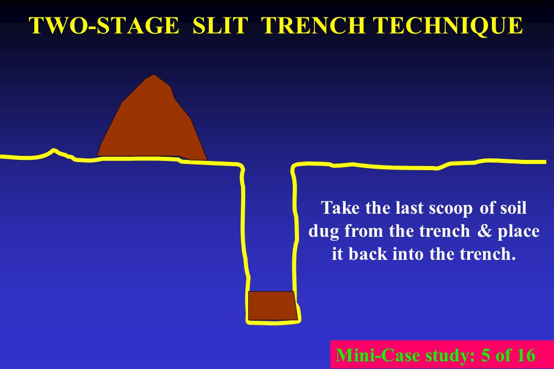 TWO-STAGE SLIT TRENCH TECHNIQUE Take the last scoop of soil dug from the trench & place it back into the trench. Mini-Case study: 5 of 16