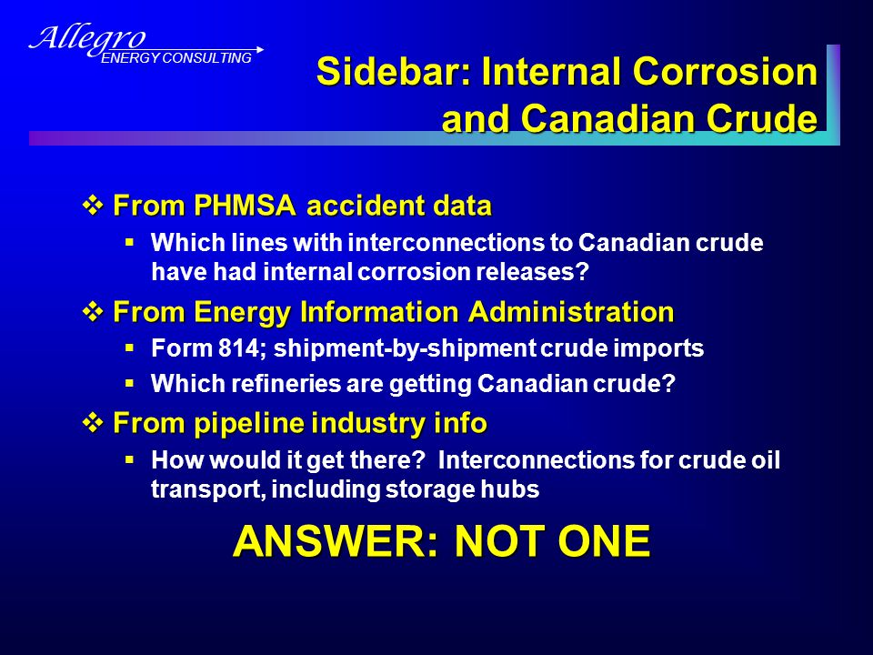 Allegro ENERGY CONSULTING Sidebar [cont'd]  Checked with operator for each crude oil internal corrosion release in an appropriate state  Each one transporting domestic crude (Williston Basin, CO, KS, OK)  FYI, operators took mitigative action  One line now has a connection to AB crude (via Cushing) but did not at the time of release (2004) No internal corrosion crude releases on U.S.