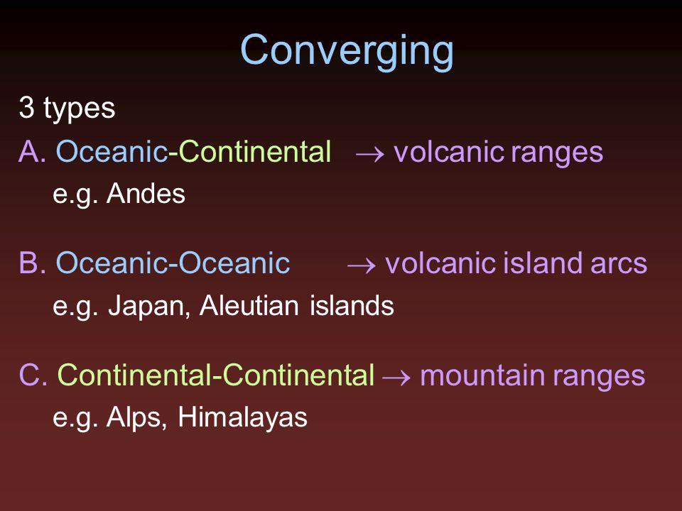 Converging 3 types A. Oceanic-Continental  volcanic ranges e.g. Andes B. Oceanic-Oceanic  volcanic island arcs e.g. Japan, Aleutian islands C. Conti