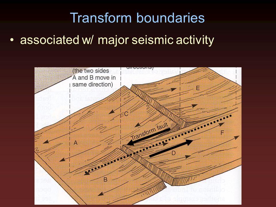 Transform boundaries associated w/ major seismic activity