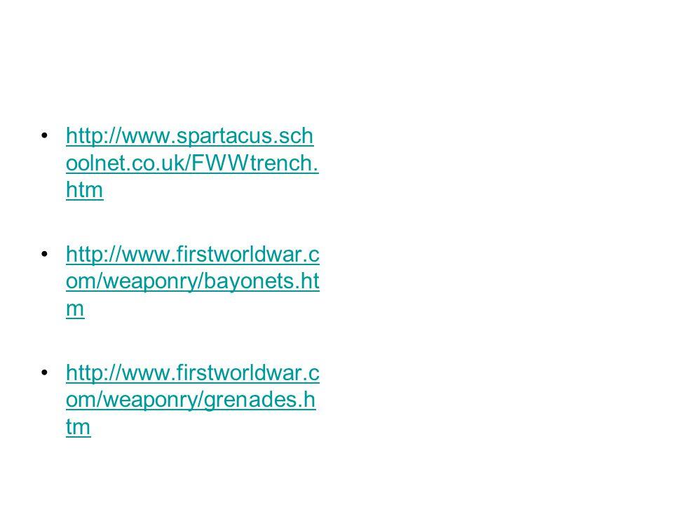 http://www.spartacus.sch oolnet.co.uk/FWWtrench. htmhttp://www.spartacus.sch oolnet.co.uk/FWWtrench. htm http://www.firstworldwar.c om/weaponry/bayone