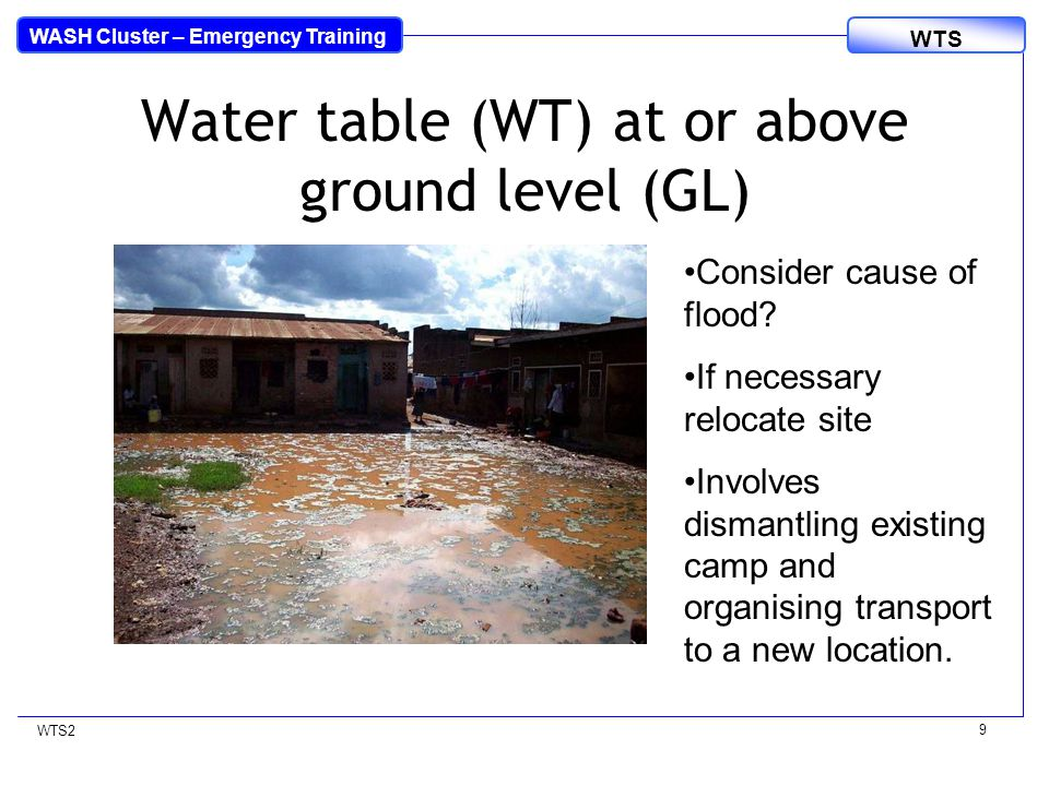 WASH Cluster – Emergency Training WTS WTS2 10 Is WT at or above GL.
