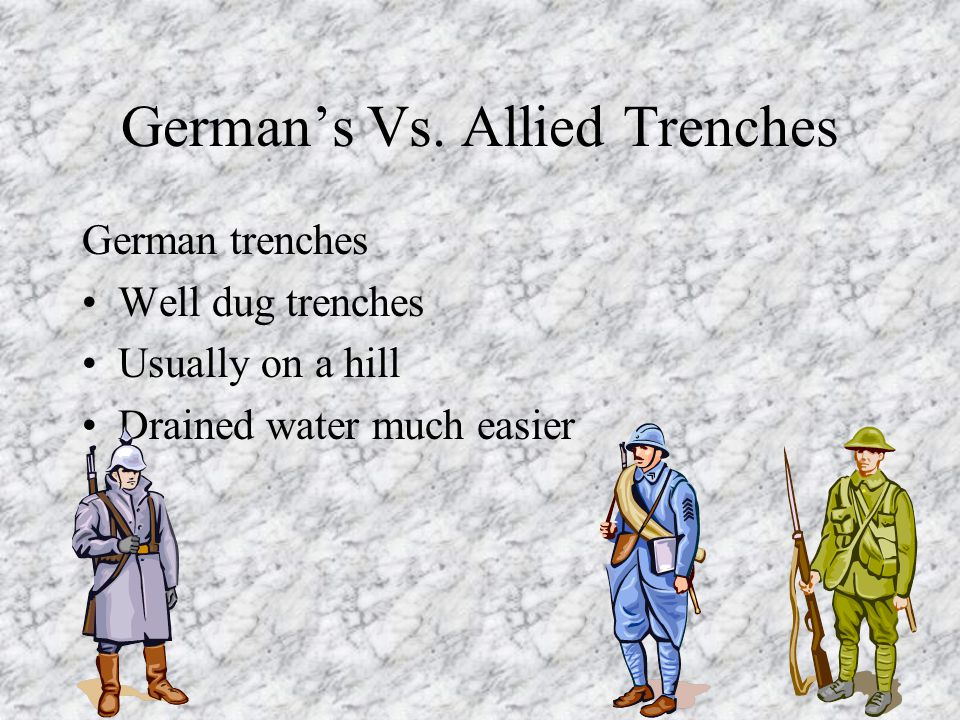 German's Vs. Allied Trenches German trenches Well dug trenches Usually on a hill Drained water much easier