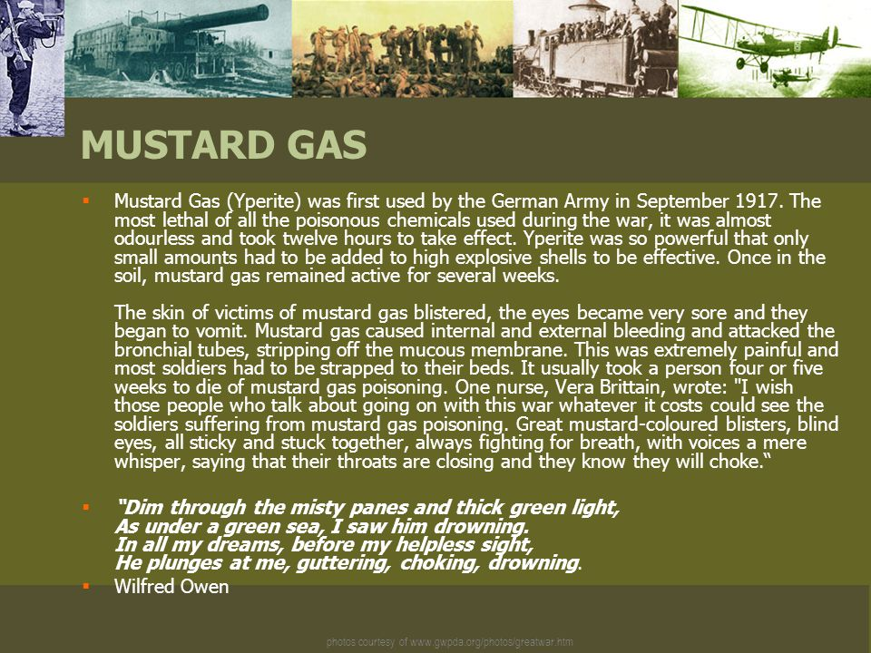 photos courtesy of www.gwpda.org/photos/greatwar.htm MUSTARD GAS  Mustard Gas (Yperite) was first used by the German Army in September 1917.