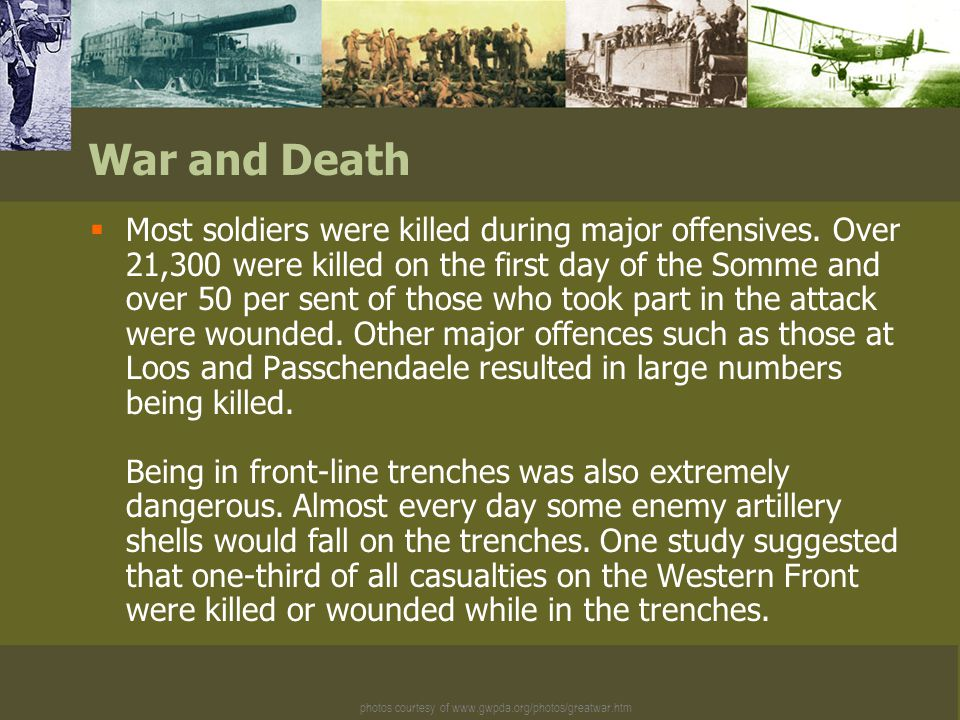  Many soldiers fighting in the First World War suffered from trench foot.
