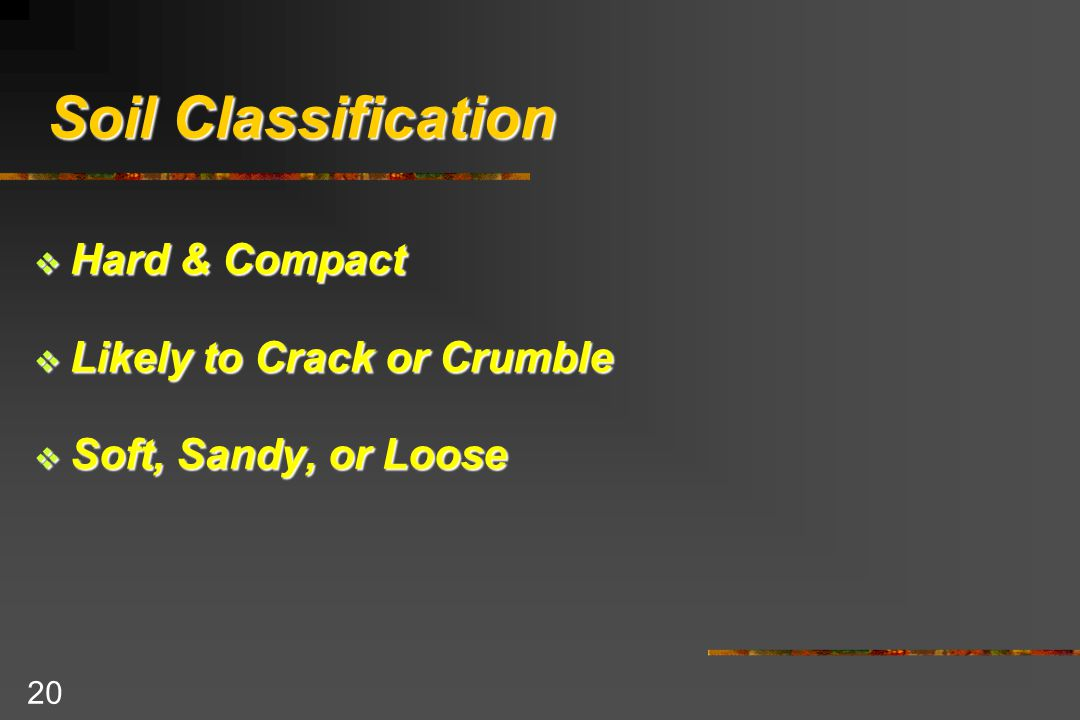 20 Soil Classification  Hard & Compact  Likely to Crack or Crumble  Soft, Sandy, or Loose