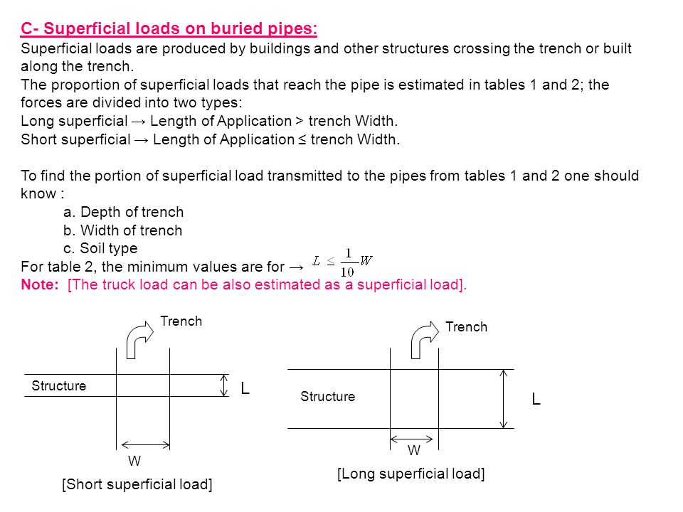 C- Superficial loads on buried pipes: Superficial loads are produced by buildings and other structures crossing the trench or built along the trench.