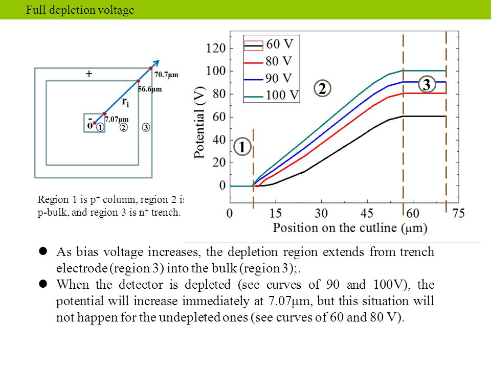 As bias voltage increases, the depletion region extends from trench electrode (region 3) into the bulk (region 3);. When the detector is depleted (see