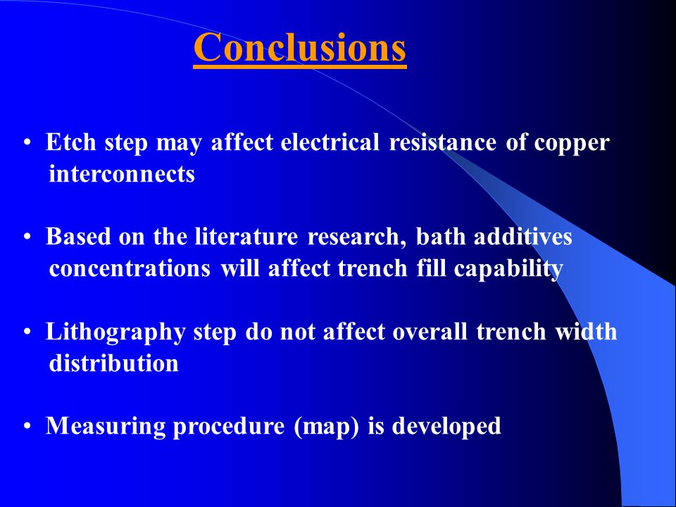Conclusions Etch step may affect electrical resistance of copper interconnects Based on the literature research, bath additives concentrations will af