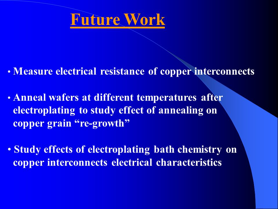 Future Work Measure electrical resistance of copper interconnects Anneal wafers at different temperatures after electroplating to study effect of anne