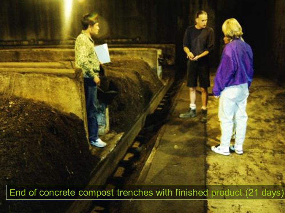 End of concrete compost trenches with finished product (21 days)