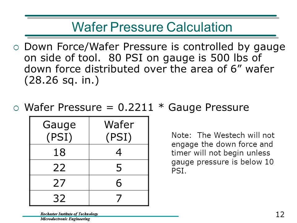 Wafer Pressure Calculation  Down Force/Wafer Pressure is controlled by gauge on side of tool. 80 PSI on gauge is 500 lbs of down force distributed ov