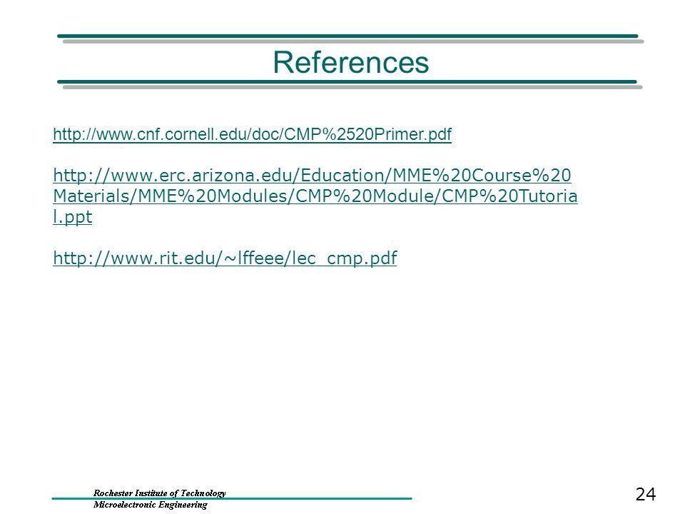 References http://www.cnf.cornell.edu/doc/CMP%2520Primer.pdf http://www.erc.arizona.edu/Education/MME%20Course%20 Materials/MME%20Modules/CMP%20Module/CMP%20Tutoria l.ppt http://www.rit.edu/~lffeee/lec_cmp.pdf 24