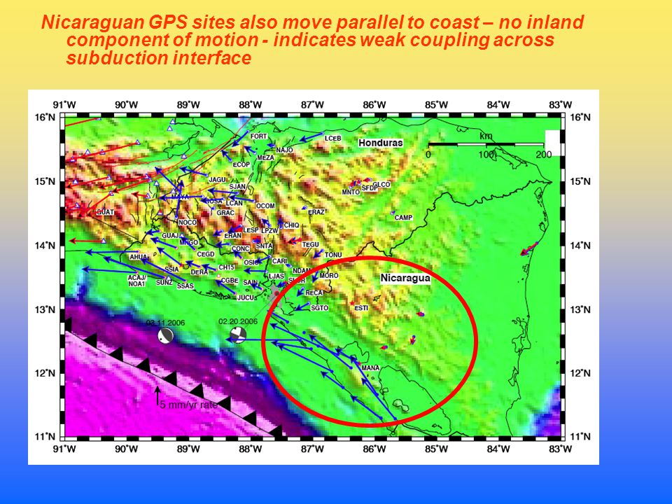 Nicaraguan GPS sites also move parallel to coast – no inland component of motion - indicates weak coupling across subduction interface