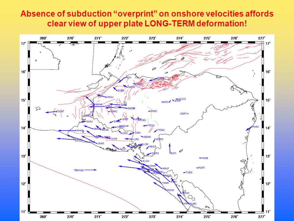 Absence of subduction overprint on onshore velocities affords clear view of upper plate LONG-TERM deformation!