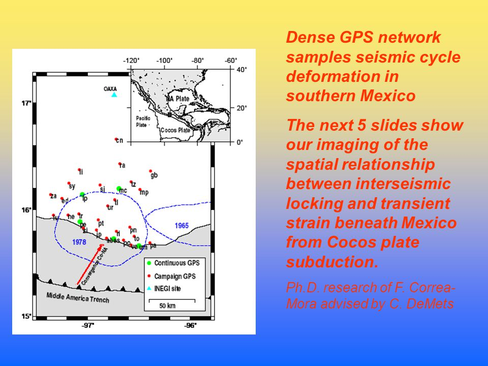 Dense GPS network samples seismic cycle deformation in southern Mexico The next 5 slides show our imaging of the spatial relationship between interseismic locking and transient strain beneath Mexico from Cocos plate subduction.