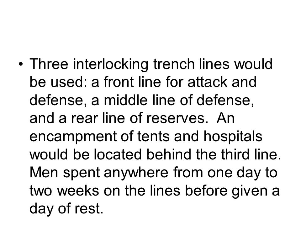 Three interlocking trench lines would be used: a front line for attack and defense, a middle line of defense, and a rear line of reserves.