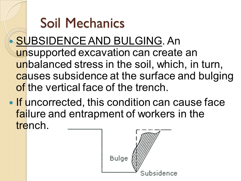 SUBSIDENCE AND BULGING.