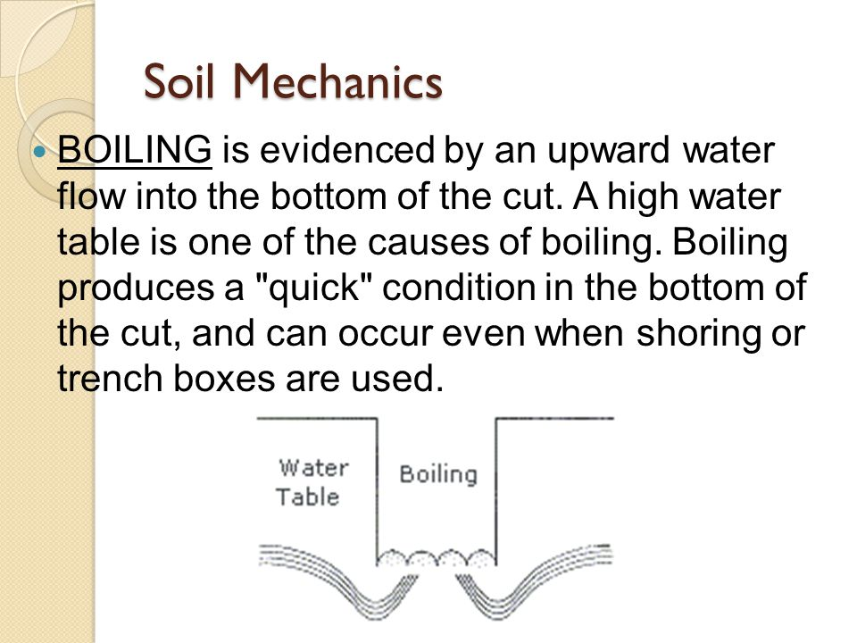 BOILING is evidenced by an upward water flow into the bottom of the cut.