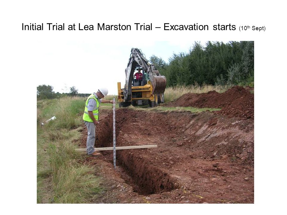 Initial Trial at Lea Marston Trial – Excavation starts (10 th Sept)