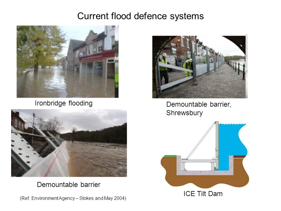 Current flood defence systems Ironbridge flooding Demountable barrier Demountable barrier, Shrewsbury (Ref.