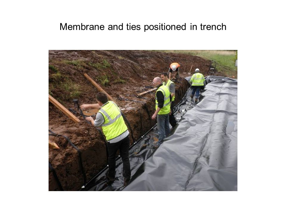 Membrane and ties positioned in trench