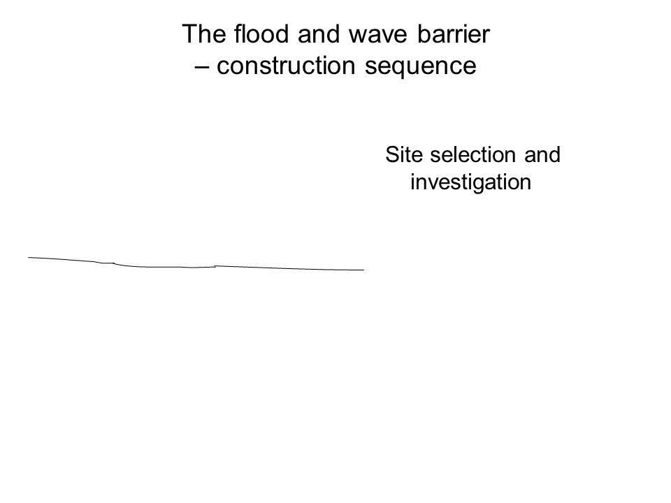 The flood and wave barrier – construction sequence Site selection and investigation