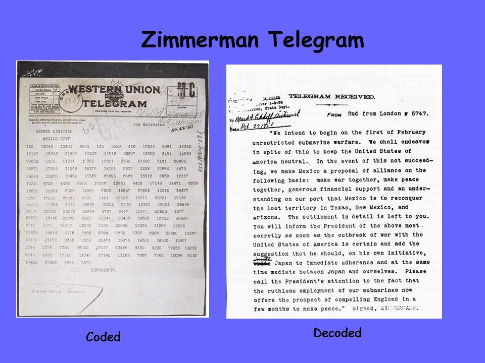Zimmerman Telegram Coded Decoded