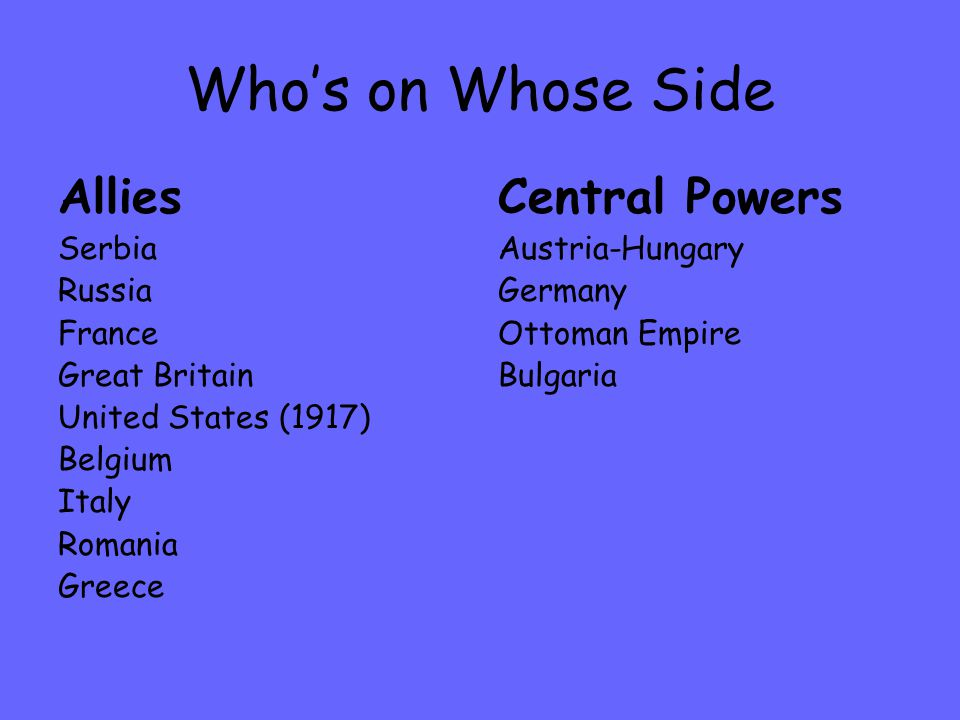 Who's on Whose Side Allies Serbia Russia France Great Britain United States (1917) Belgium Italy Romania Greece Central Powers Austria-Hungary Germany Ottoman Empire Bulgaria