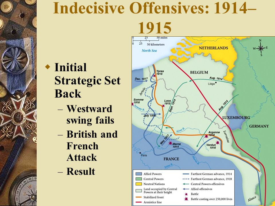 Indecisive Offensives: 1914– 1915  The Break down of the Schlieffen Plan – Overly Calculated – Belgian Resistance – British Support