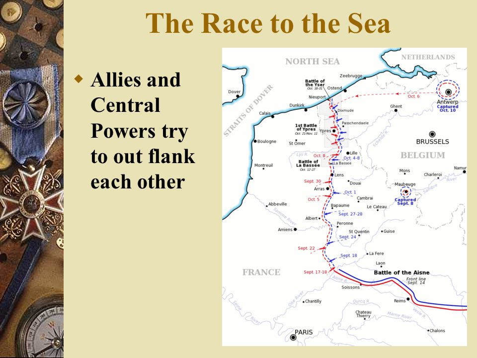 Indecisive Offensives: 1914– 1915  Initial Strategic Set Back – Westward swing fails – British and French Attack – Result