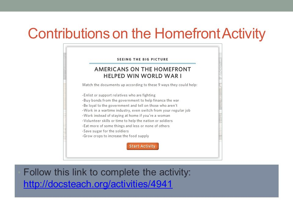 Contributions on the Homefront Activity Follow this link to complete the activity: http://docsteach.org/activities/4941 http://docsteach.org/activities/4941
