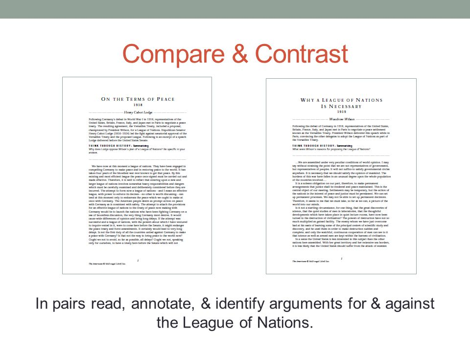 Compare & Contrast In pairs read, annotate, & identify arguments for & against the League of Nations.