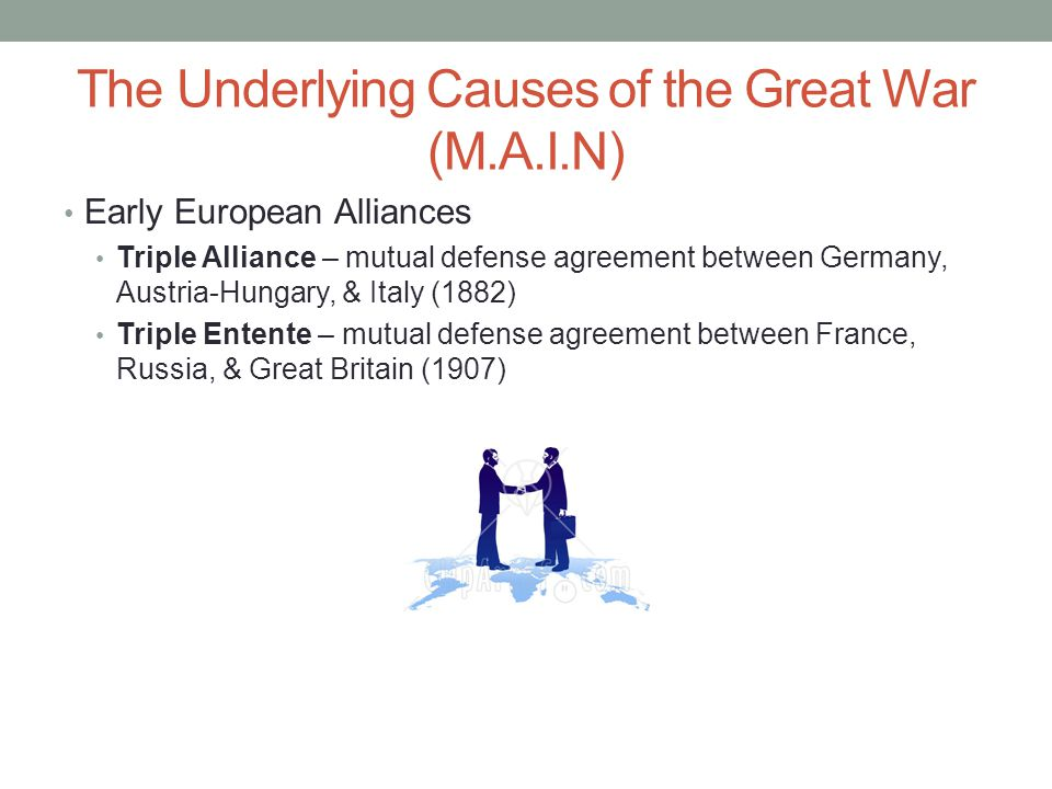 The Underlying Causes of the Great War (M.A.I.N) Early European Alliances Triple Alliance – mutual defense agreement between Germany, Austria-Hungary, & Italy (1882) Triple Entente – mutual defense agreement between France, Russia, & Great Britain (1907)