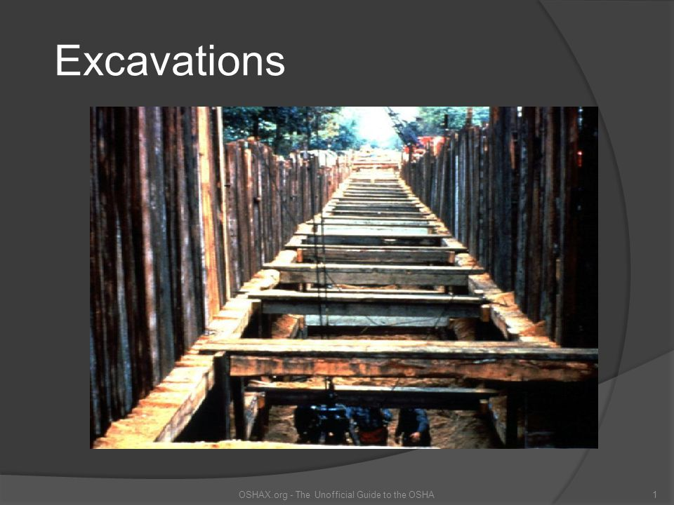 Excavation Hazards OSHAX.org - The Unofficial Guide to the OSHA2 Cave-ins are the greatest risk Other hazards include:  Asphyxiation due to lack of oxygen  Inhalation of toxic materials  Fire  Moving machinery near the edge of the excavation can cause a collapse  Accidental severing of underground utility lines