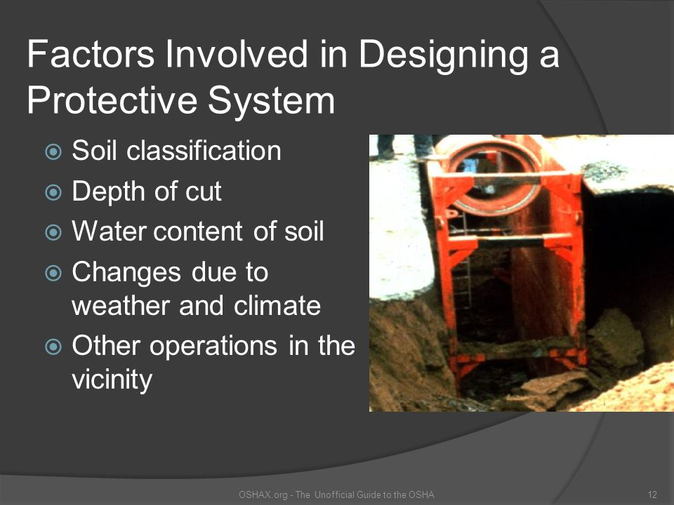 Factors Involved in Designing a Protective System  Soil classification  Depth of cut  Water content of soil  Changes due to weather and climate 