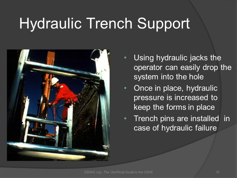 Hydraulic Trench Support Using hydraulic jacks the operator can easily drop the system into the hole Once in place, hydraulic pressure is increased to