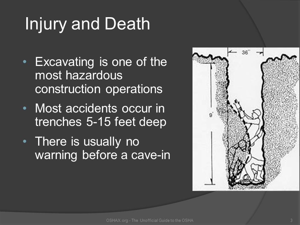 Means of Egress A stairway, ladder, or ramp must be present in excavations that are 4 or more feet deep, and within 25 feet of the employees OSHAX.org - The Unofficial Guide to the OSHA24 This ladder does not meet the requirements of the standard The ladder should extend 3 feet above the excavation