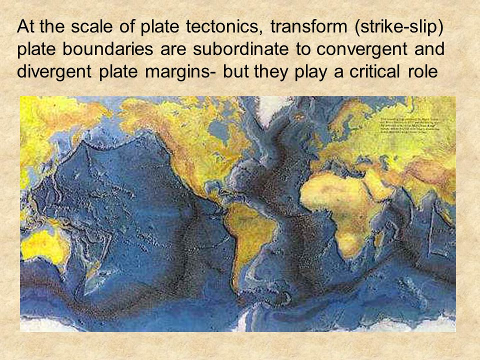At the scale of plate tectonics, transform (strike-slip) plate boundaries are subordinate to convergent and divergent plate margins- but they play a critical role